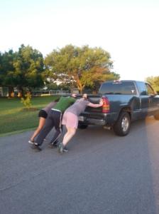 pushing a truck